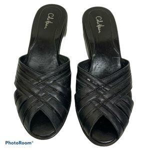 Cole Haan Slip On Wedge Sandals Black Peep Toe